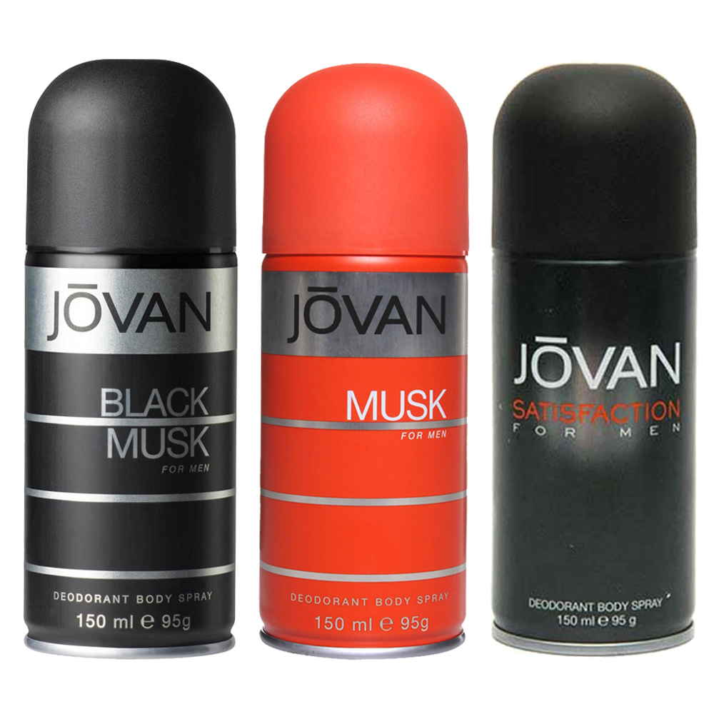 Jovan Black Musk, Musk, Satisfaction Pack of 3 Deodorants