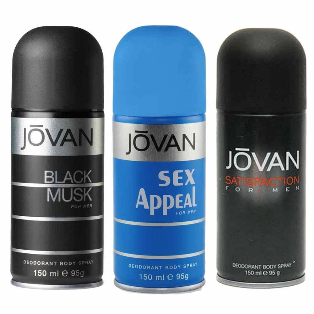 Jovan Black Musk, Satisfaction, Sex Appeal Pack of 3 Deodorants