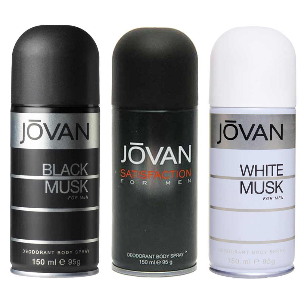 Jovan Black Musk, Satisfaction, White Musk Pack of 3 Deodorants