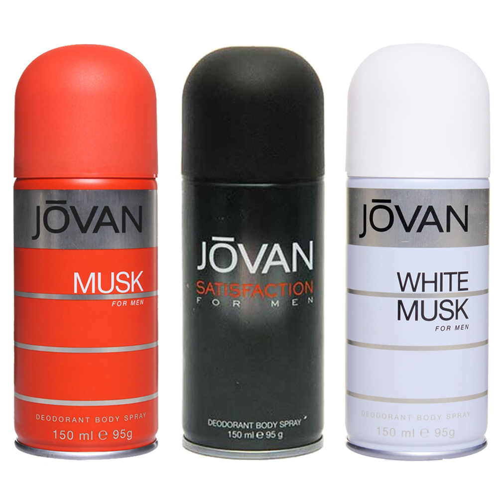 Jovan Musk, Satisfaction, White Musk Pack of 3 Deodorants