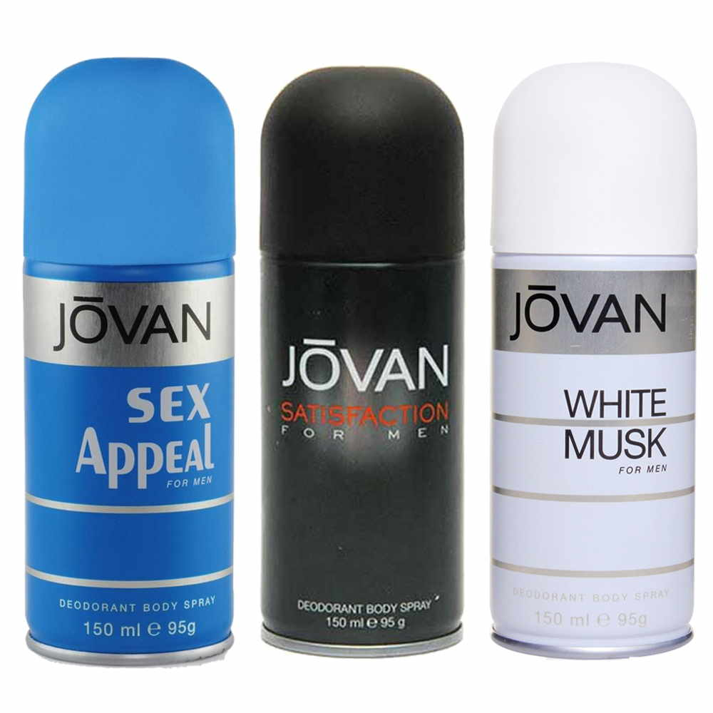 Jovan Satisfaction, Sex Appeal, White Musk Pack of 3 Deodorants