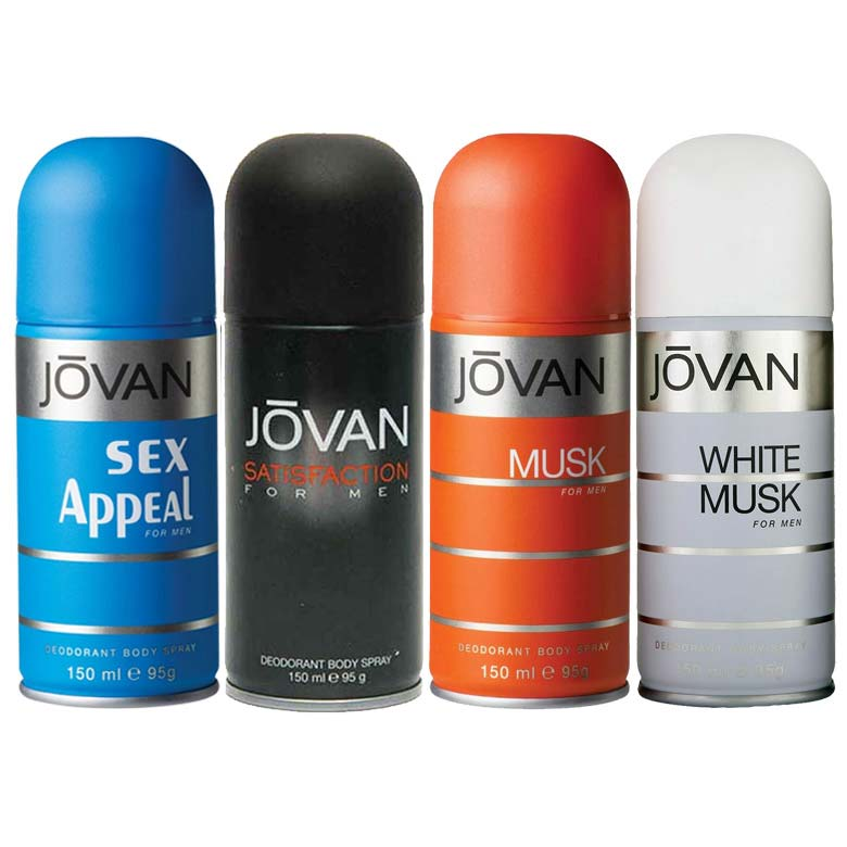 Jovan Musk, White Musk, Satisfaction, Sex Appeal Pack of 4 Deodorants For Men