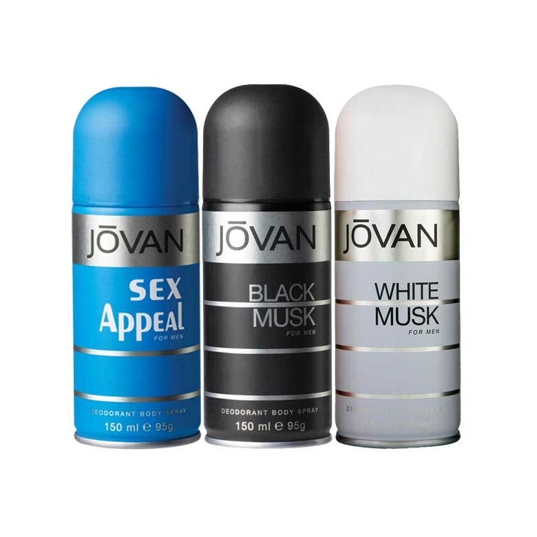 Jovan Black Musk, Sex Appeal, White Musk Pack of 3 Deodorants