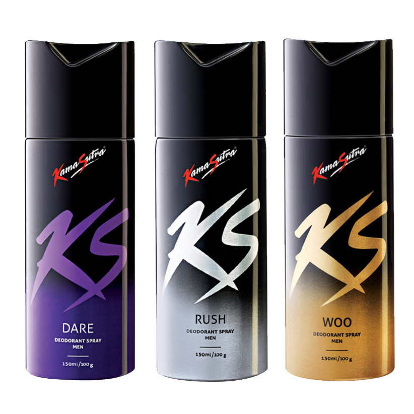 Kamasutra Dare, Rush, Woo Pack of 3 Deodorants