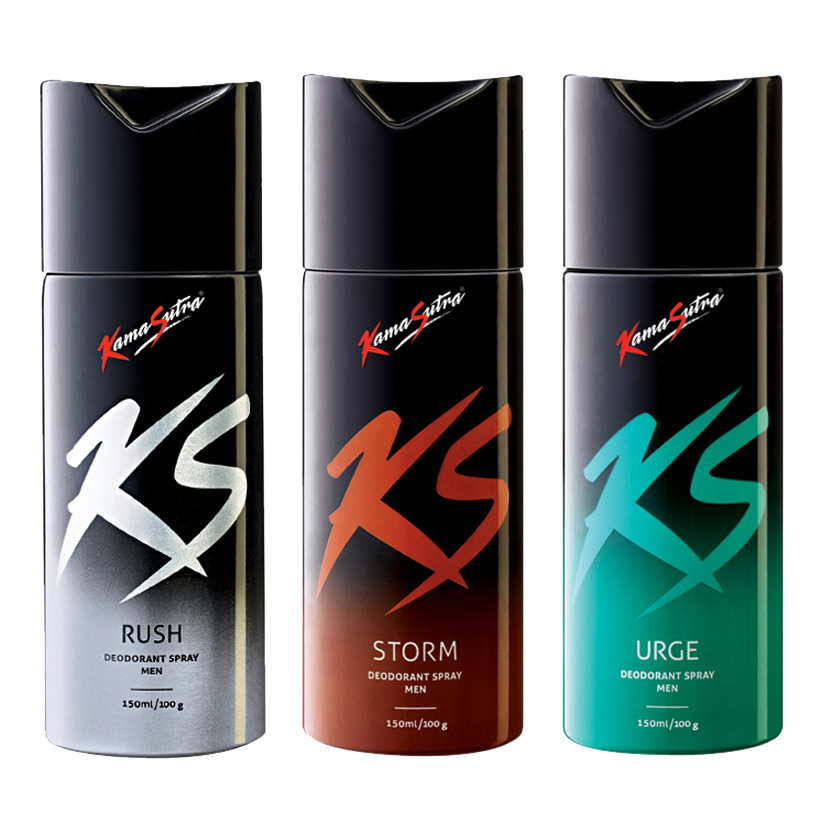 Kamasutra Rush, Storm, Urge Pack of 3 Deodorants