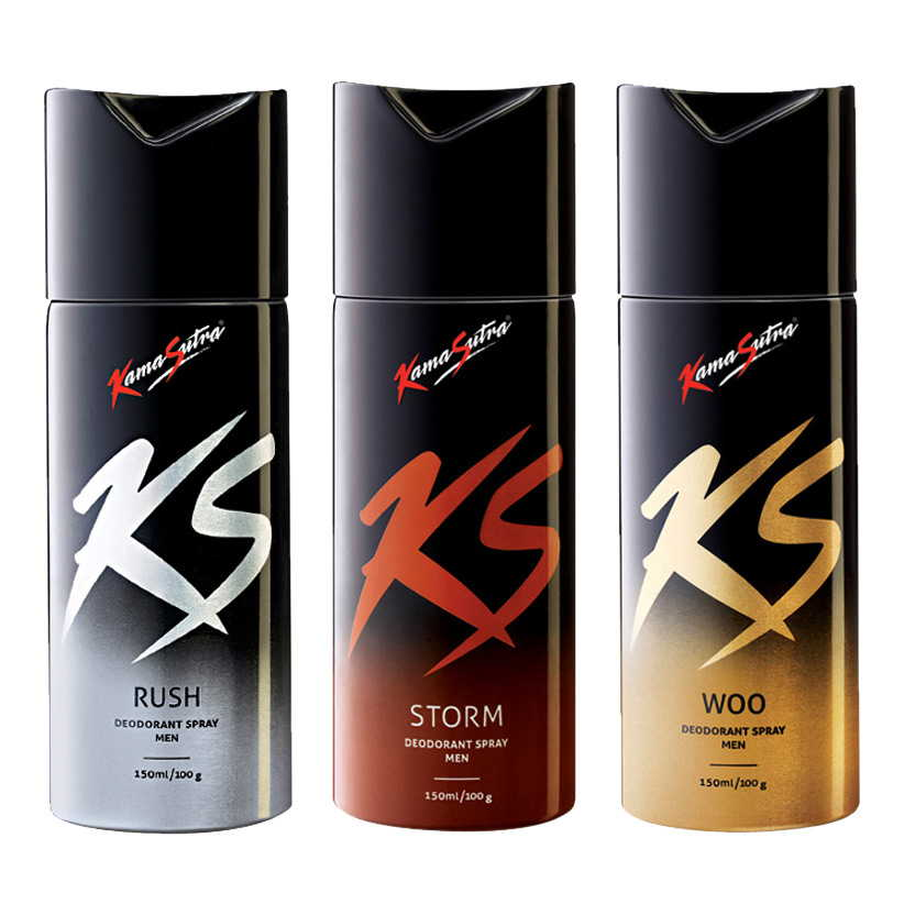 Kamasutra Rush, Storm, Woo Pack of 3 Deodorants