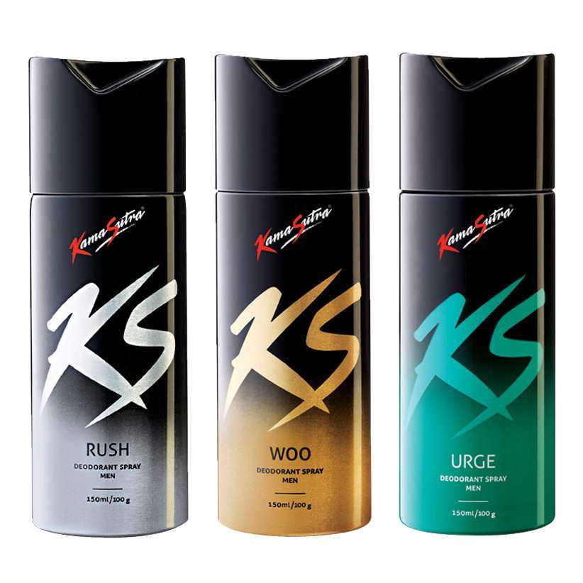 Kamasutra Rush, Woo, Urge Pack of 3 Deodorants