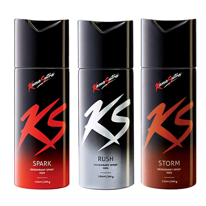 Kamasutra Spark, Rush, Storm Pack of 3 Deodorants