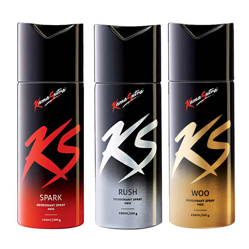 Kamasutra Spark, Rush, Woo Pack of 3 Deodorants