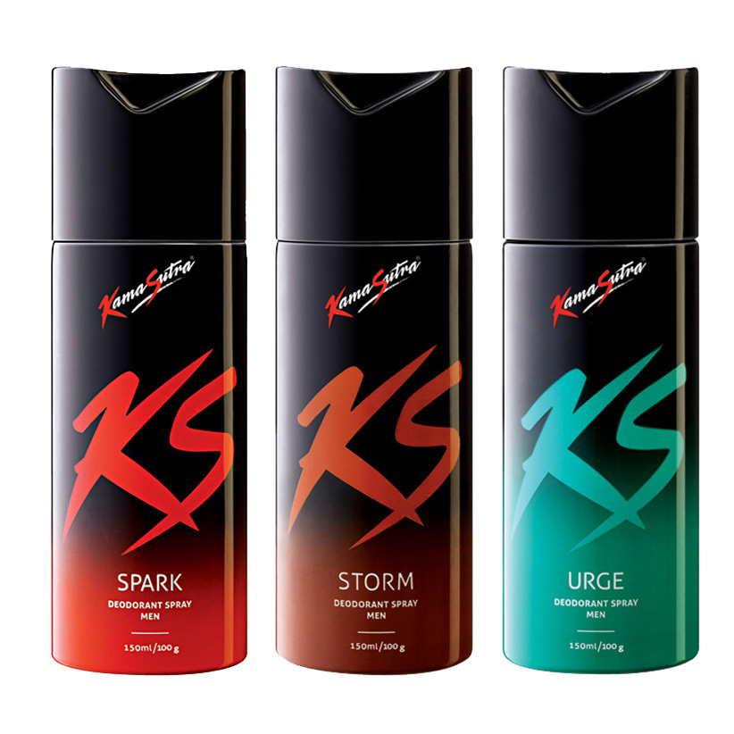 Kamasutra Spark, Storm, Urge Pack of 3 Deodorants
