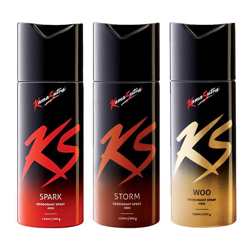 Kamasutra Spark, Storm, Woo Pack of 3 Deodorants