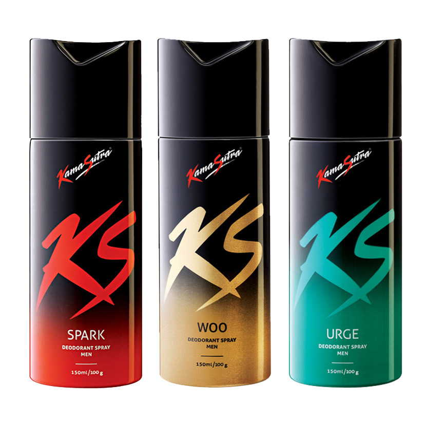 Kamasutra Spark, Woo, Urge Pack of 3 Deodorants