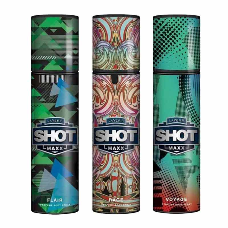 Layerr Shot Maxx Flair, Rage, Voyage Pack of 3 Perfume Body Sprays