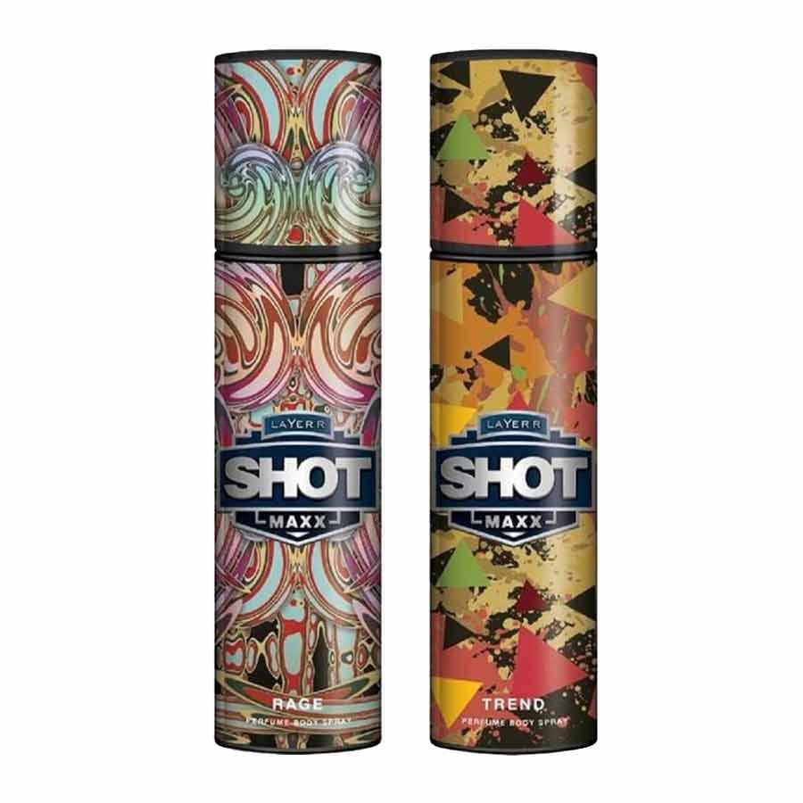 Layerr Shot Maxx Rage, Trend Pack of 2 Perfume Body Sprays