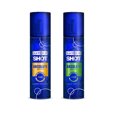 Layerr Shot Absolute Rush, Craze Pack of 2 Deodorants