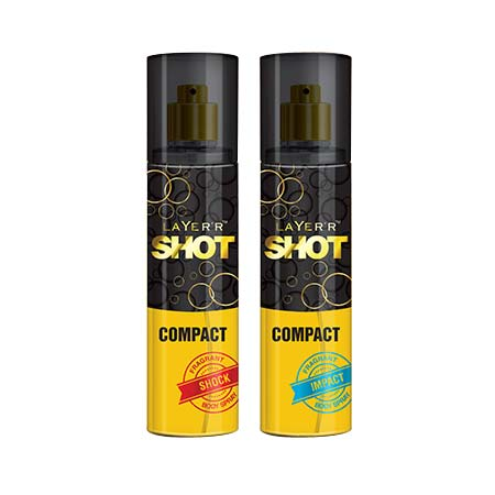 Layerr Shot Compact Shock And Impact Pack Of 2 Deodorant Spray