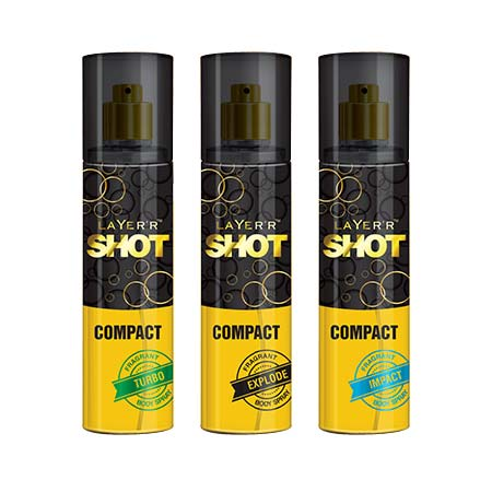 Layerr Shot Compact Turbo, Explode And Impact Pack Of 3 Deodorant Spray