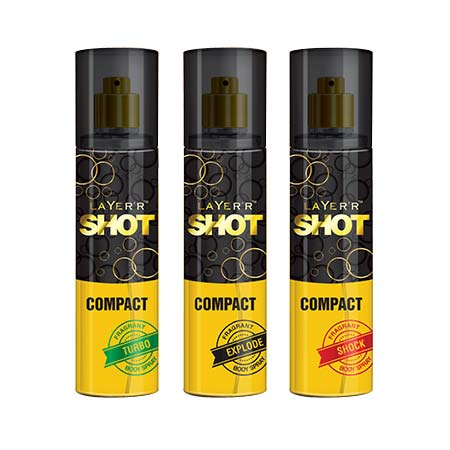 Layerr Shot Compact Turbo, Explode And Shock Pack Of 3 Deodorant Spray