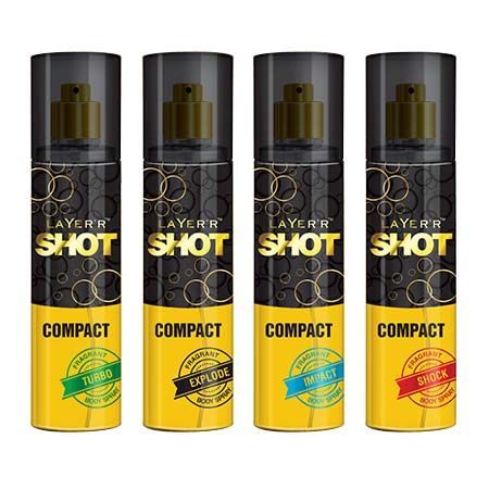 Layerr Shot Compact Turbo, Explode, Shock And Impact Pack Of 4 Deodorant Spray