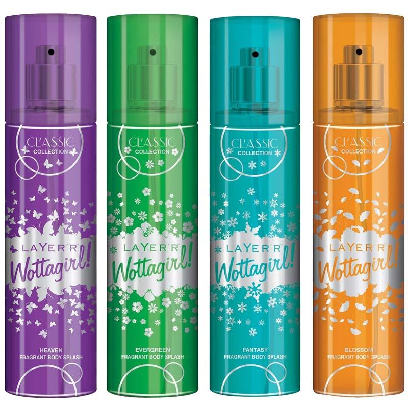 Layerr Wottagirl Classic Heaven Blossom Evergreen Fantasy Pack Of 4 Body Sprays