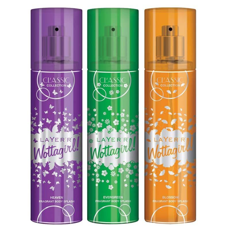 Layerr Wottagirl Classic Heaven Blossom Evergreen Pack Of 3 Body Sprays