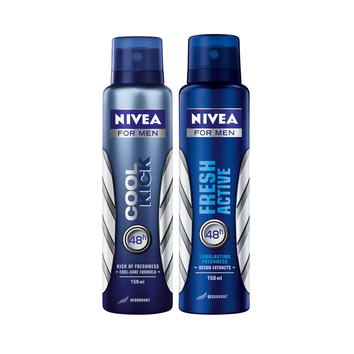 Nivea Fresh Active, Cool Kick Pack of 2 Deodorants