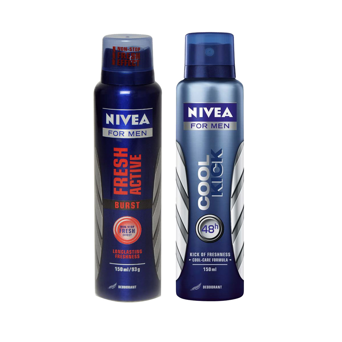 Nivea Cool Kick, Fresh Burst Pack of 2 Deodorants