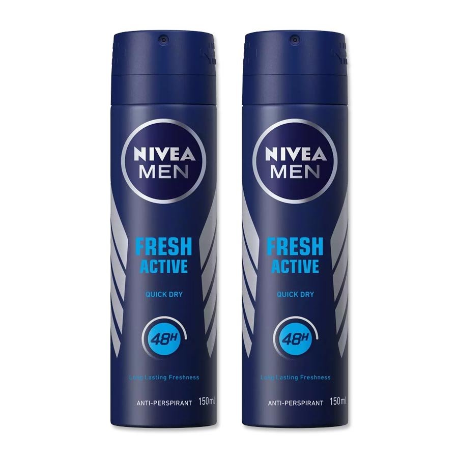 Nivea Fresh Active Pack of 2 Deodorants