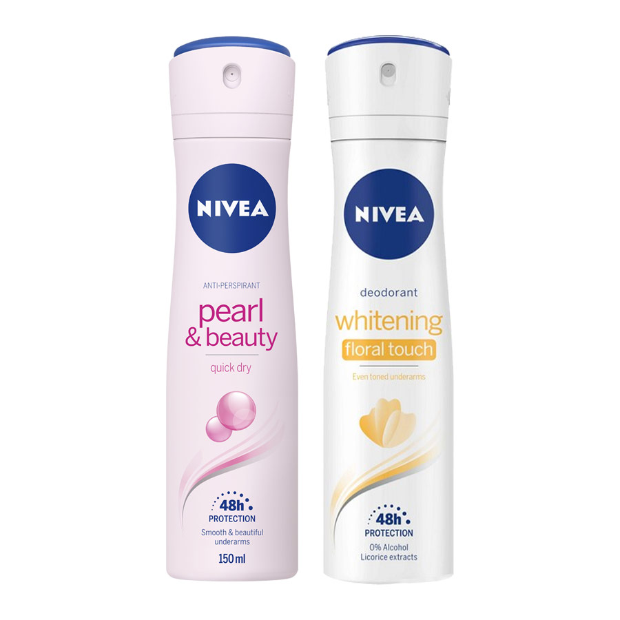 Nivea Pearl and Beauty, Whitening Pack of 2 Deodorants