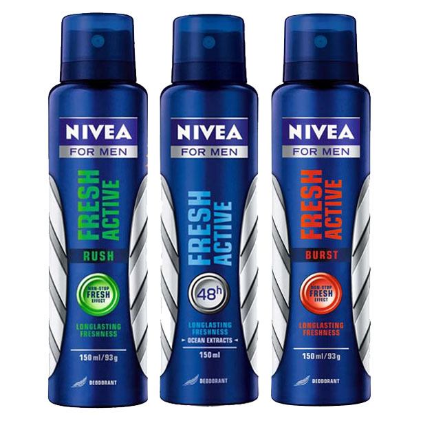 Nivea Fresh Active, Fresh Active Rush, Fresh Active Burst Pack of 3 Deodorants