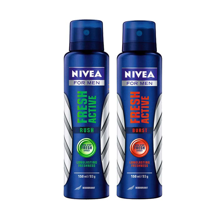 Nivea Fresh Active Rush, Fresh Active Burst Pack of 2 Deodorants