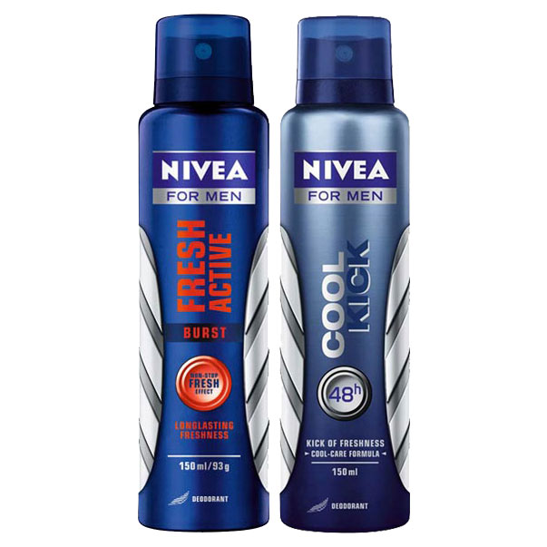 Nivea Fresh Active Burst, Cool Kick Pack of 2 Deodorants