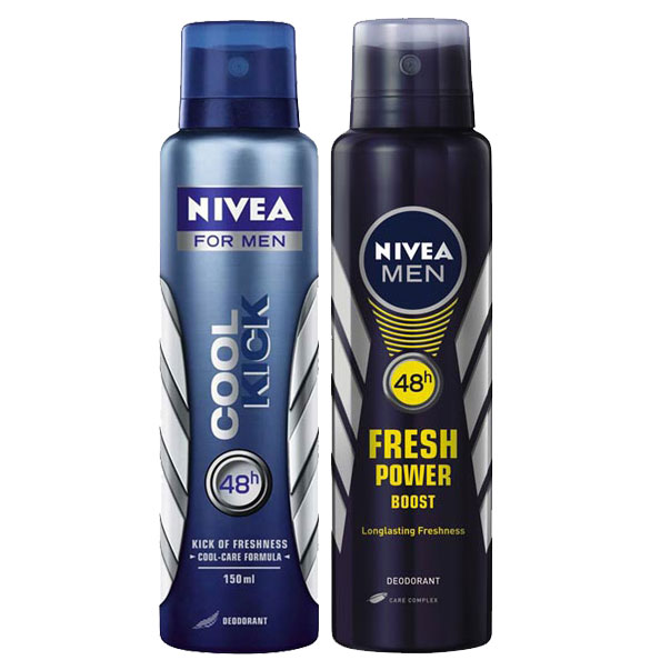 Nivea Cool Kick, Fresh Power Boost Pack of 2 Deodorants
