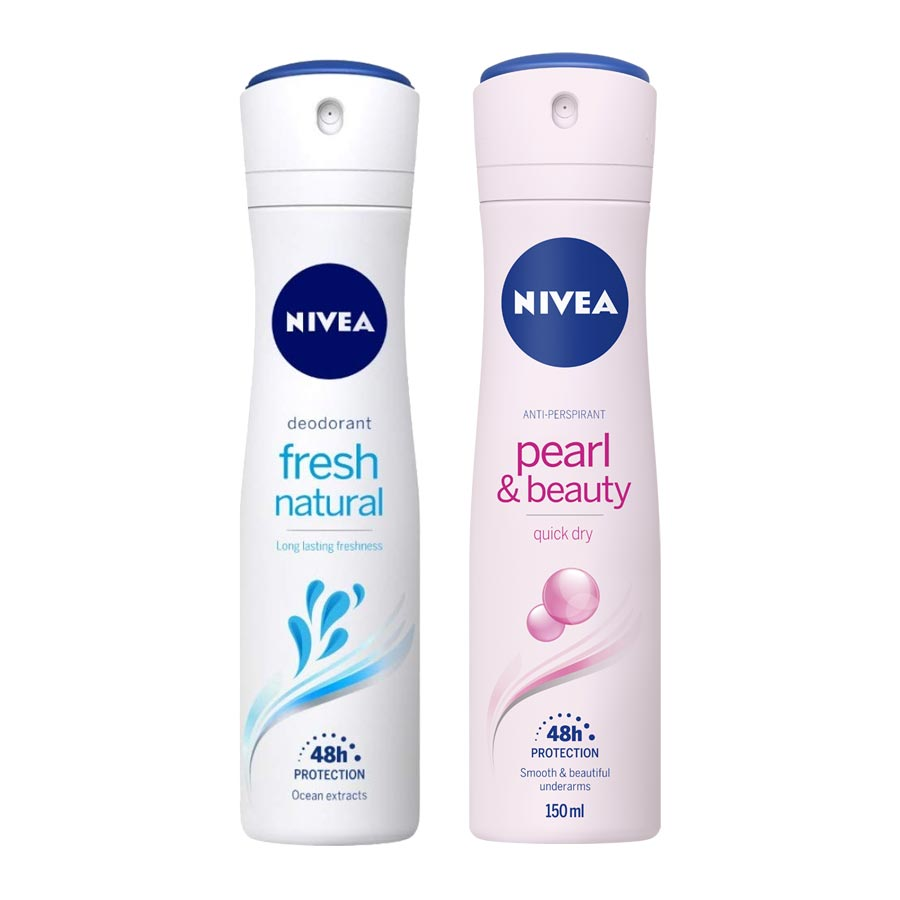 Nivea Fresh Natural, Pearl and Beauty Pack of 2 Deodorants
