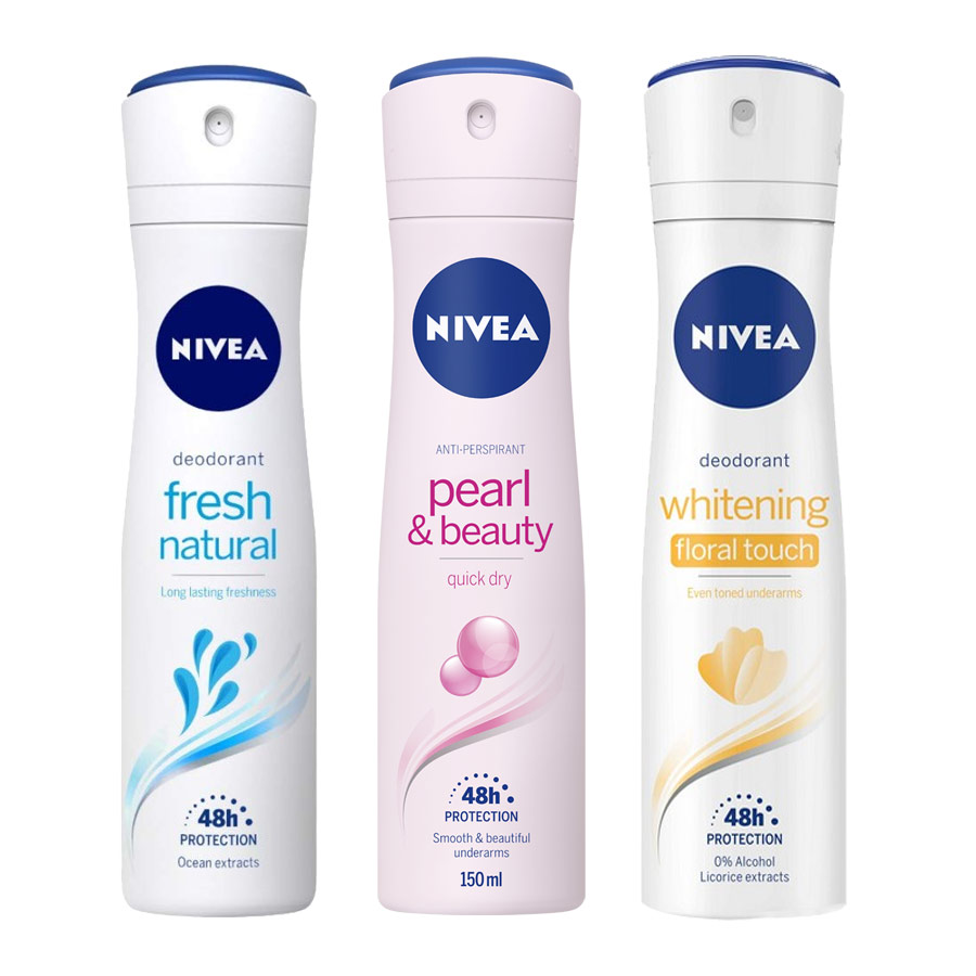 Nivea Fresh Natural, Pearl and Beauty, Whitening Floral Touch Pack of 3 Deodorants