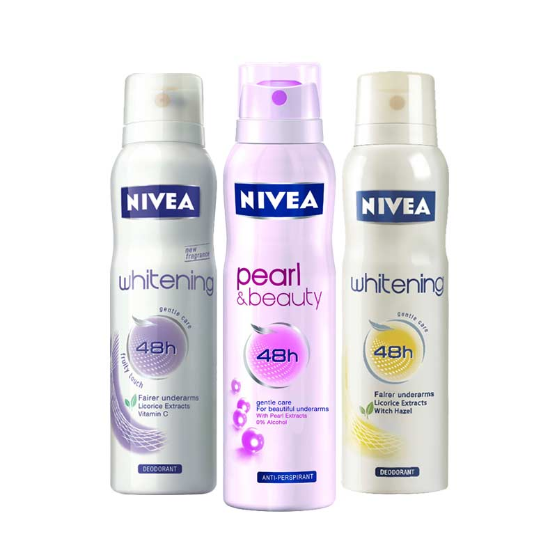 Nivea Pearl and Beauty, Whitening Floral Touch, Whitening Fruity Touch Pack of 3 Deodorants