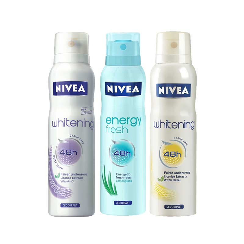 Nivea Whitening Floral Touch, Whitening Fruity Touch, Energy Fresh Pack of 3 Deodorants