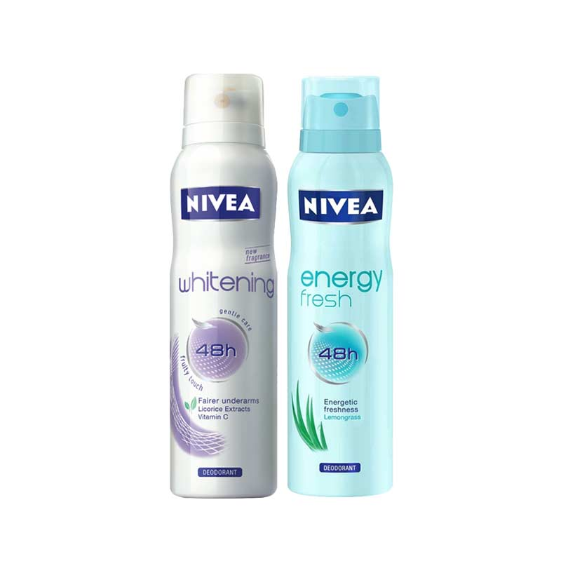 Nivea Whitening Fruity Touch, Energy Fresh Pack of 2 Deodorants