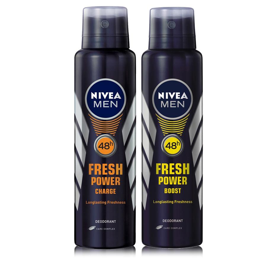 Nivea Fresh Power Boost, Fresh Power Charge Pack of 2 Deodorants