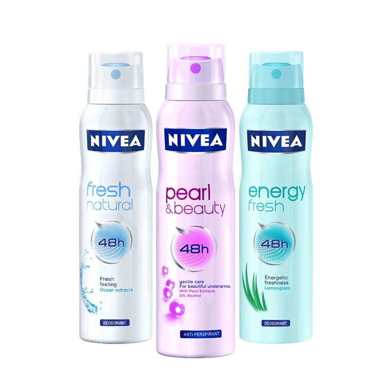 Nivea Energy Fresh, Fresh Natural, Pearl and Beauty Pack of 3 Deodorants