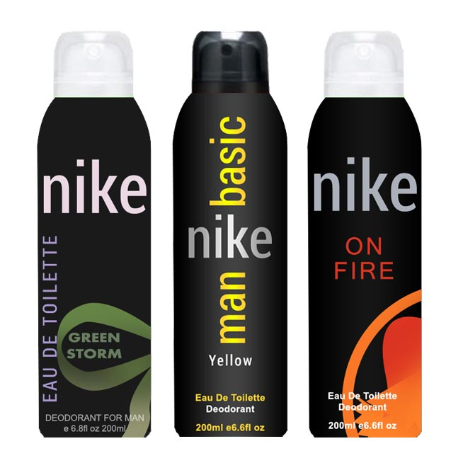 Nike Basic Yellow On Fire Green Storm Pack of 3 Deodorants