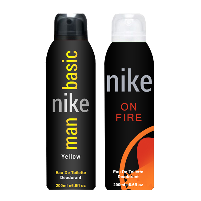 Nike Basic Yellow And On Fire Pack of 2 Deodorants