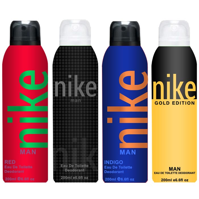 Nike Charcoal Grey Gold Edition Red Indigo Pack of 4 Deodorants