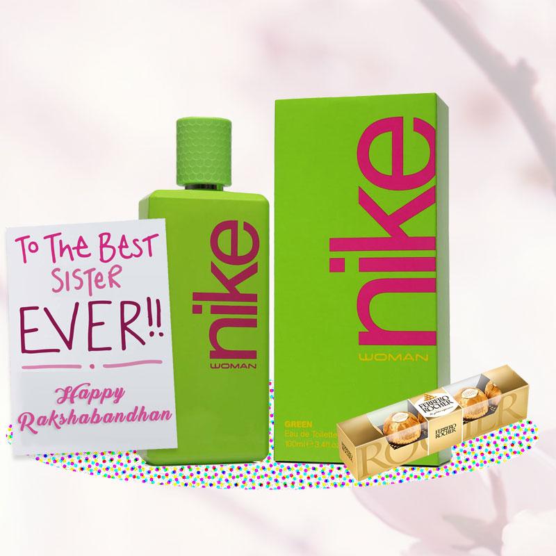 Nike Green Perfume Rakhi Return Gift Hamper