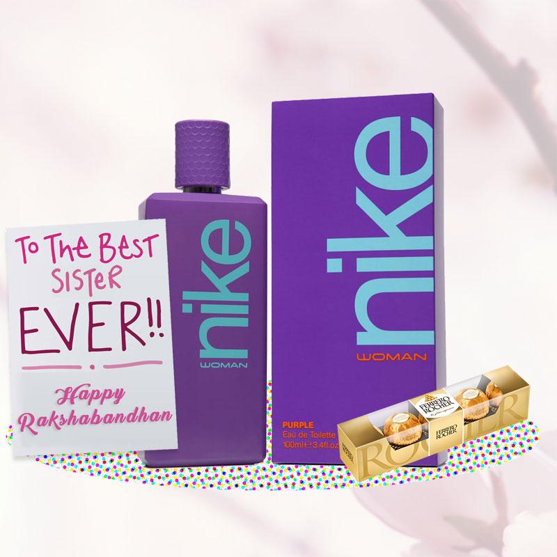Nike Purple Perfume Rakhi Return Gift Hamper