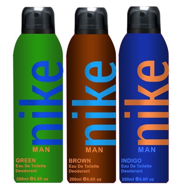 Nike Indigo Green Brown Pack of 3 Deodorants