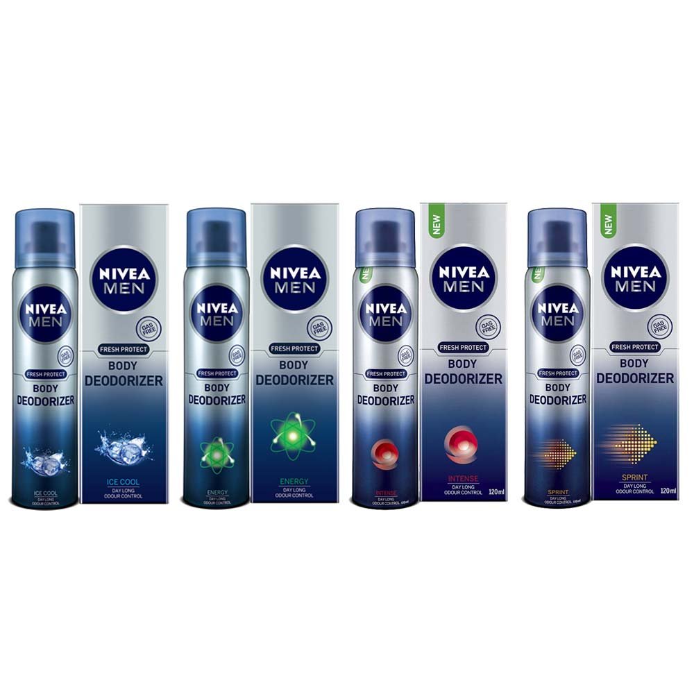 Nivea Energy Intense Sprint And Ice Cool Pack Of 4 No Gas Body Deodorizers
