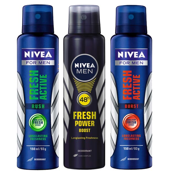 Nivea Fresh Active Rush Burst And Boost Pack Of 3 Long Lasting Deodorants