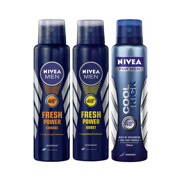 Nivea Cool Kick, Fresh Power Boost, Fresh Power Charge Pack of 3 Deodorants