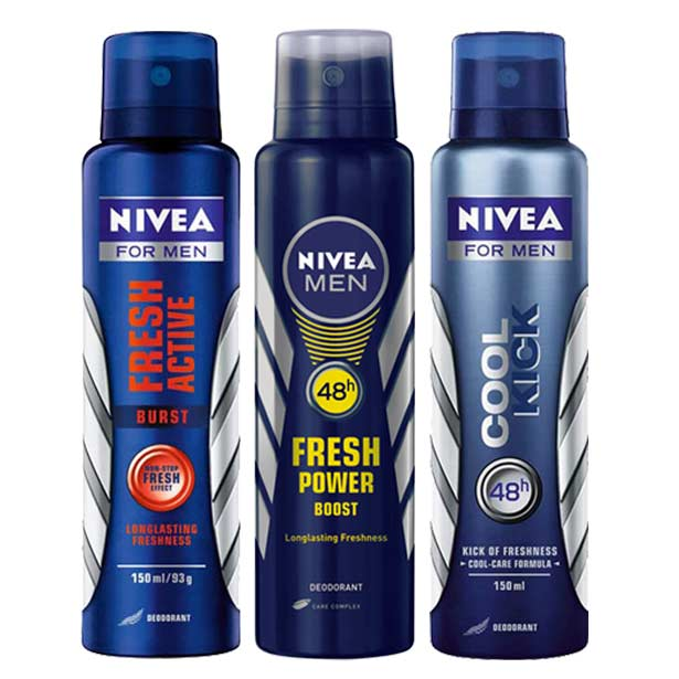 Nivea Fresh Active Burst, Cool Kick, Fresh Power Boost Pack of 3 Deodorants